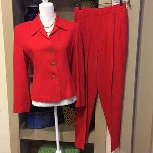 Ellen Tracy Red Wool Pants Suit